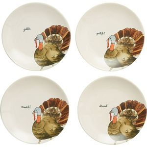 "Rae Dunn Turkey Thanksgiving 8"" Appetizer Plates"
